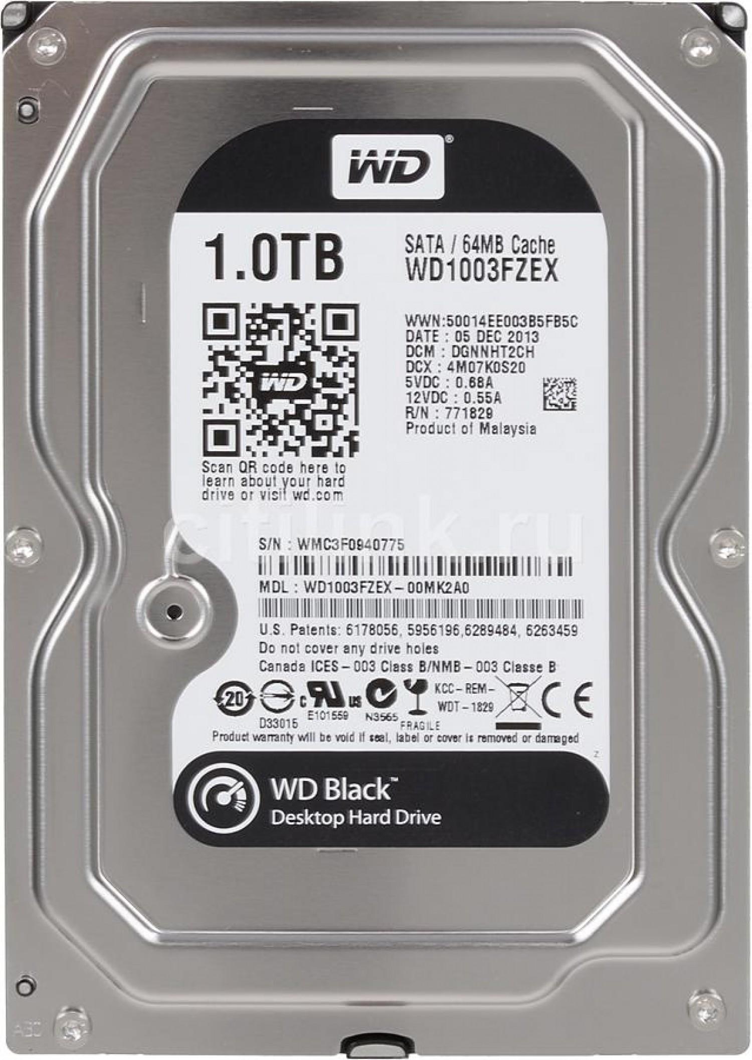 DISCO HDD WD S 1 TB 7200 S-ATA BLACK EDITION