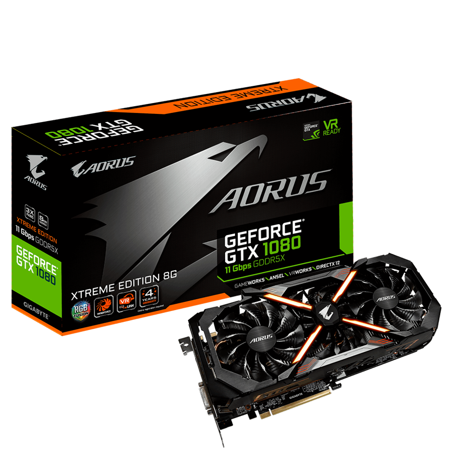 PLACA DE VIDEO GIGABYTE GTX1080 AORUS XTREME EDITION 8G 11GBPS REV 1.0